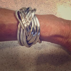 Jewelry - Braided Silver Leather Bracelet from Italy